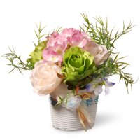 Assorted Flowers in White Basket Style Vase