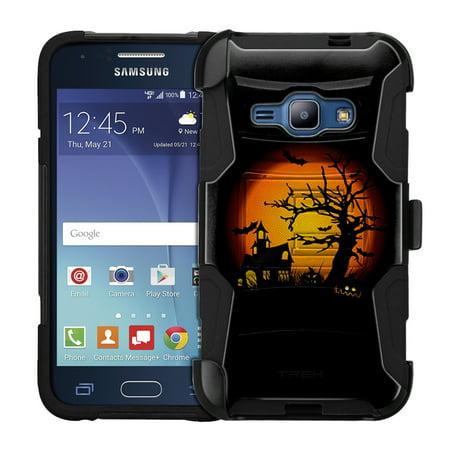 (Samsung Galaxy Amp 2 Armor Hybrid Case - Haunted House on Black)