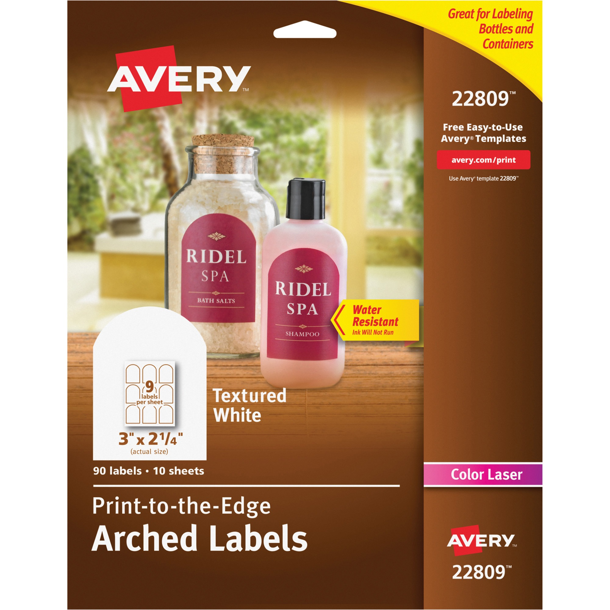 Textured White Print-to-the-Edge Arched Labels