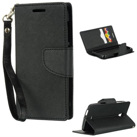Alcatel One Touch Pop Astro Case, by Insten Stand Folio Flip Leather [Card Slot] Wallet Flap Pouch Case Cover For Alcatel One Touch Pop Astro (Alcatel One Touch X Pop)
