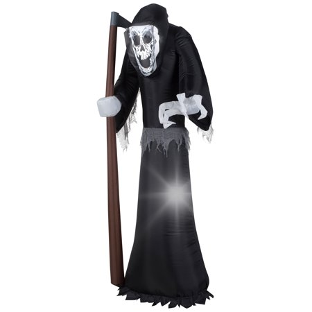 National Tree Company 6 ft. Inflatable Giant Grim Reaper - Giant Inflatable Halloween Haunted Castle