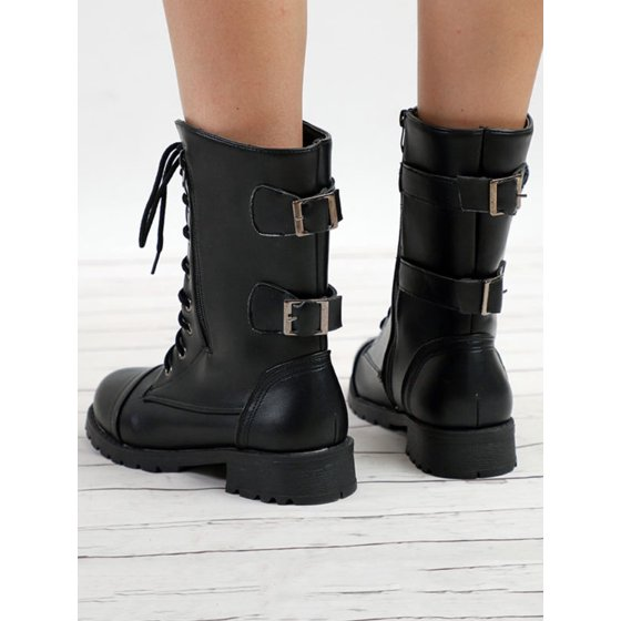 a72a1be98c Women's Shoes US Ladies Womens Combat Army Military Worker Lace Up Flat  Biker Zip Ankle Boots