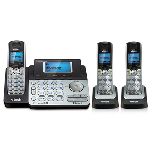 VTech DS6151 + (2) DS6101 2 Line Expandable cordless phone DECT 6.0 Technology(1.9GHz) by