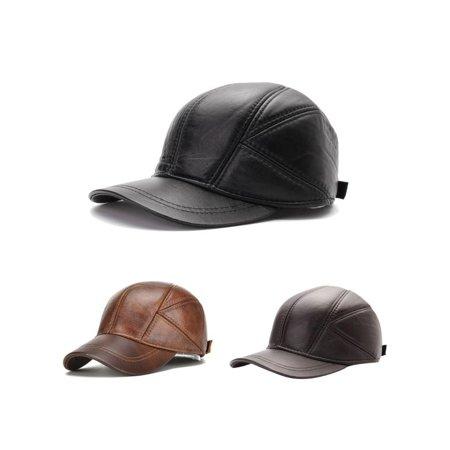 817685efa3426 Men s Artificial Leather Baseball Caps Winter Hats with Ear Flaps Cap Hat -  Walmart.com