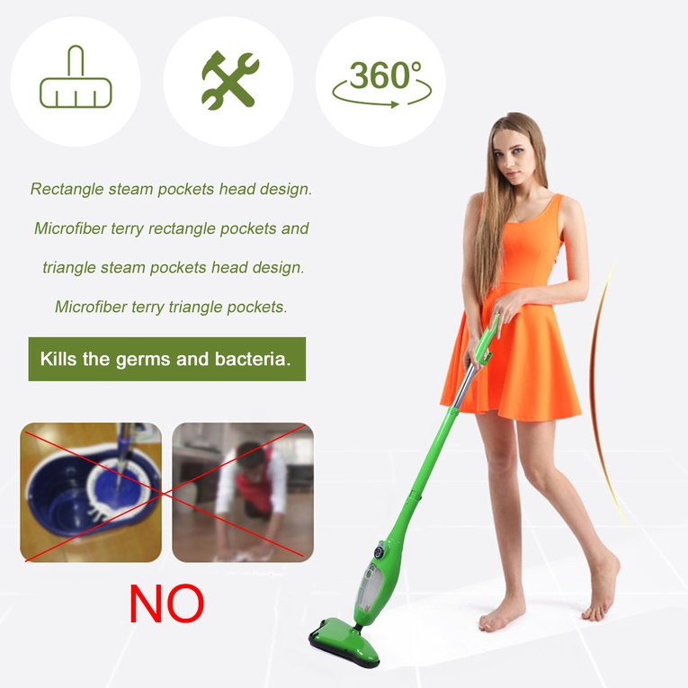 Green Home Floor Steam Vacuum Cleaner Cleaning Sweeper Steamer Steam Pockets Mop