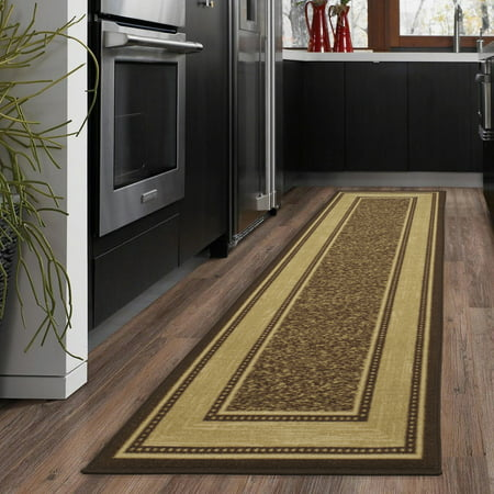 Ottomanson Ottohome Collection Contemporary Bordered Design Modern Area Rugs And Runners With Non Skid Rubber Backing Brown