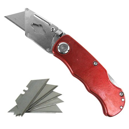 Hiltex Folding Utility Pocket Knife Box Cutter Blade With Lockback Handle  Clip  Blades