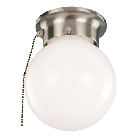 Design House 519272 1-Light Ceiling Flush Mount Globe Light with Pull Chain, Satin Nickel Finish