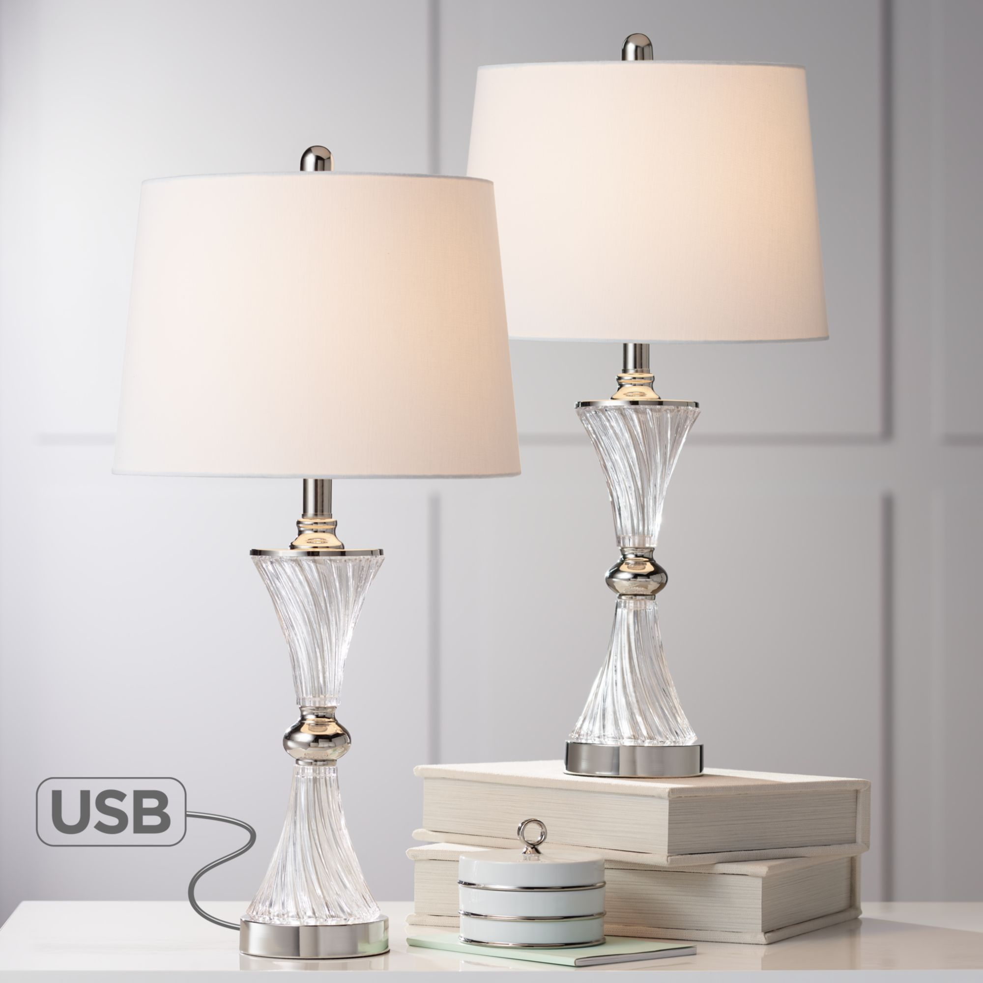 nightstand lamps with usb touch regency hill modern table lamps set of with usb charging port chrome and glass drum