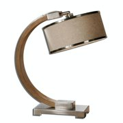 """21.25"""" Curved Stained Wood and Plated Chrome Desk Lamp with Oatmeal Hardback Shade"""