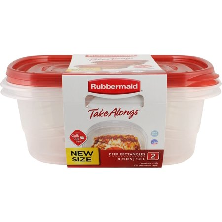 Rubbermaid TakeAlongs Deep Rectangle Food Storage Container (Set of 2), 8 Cups 6 Cup Rectangle Storage