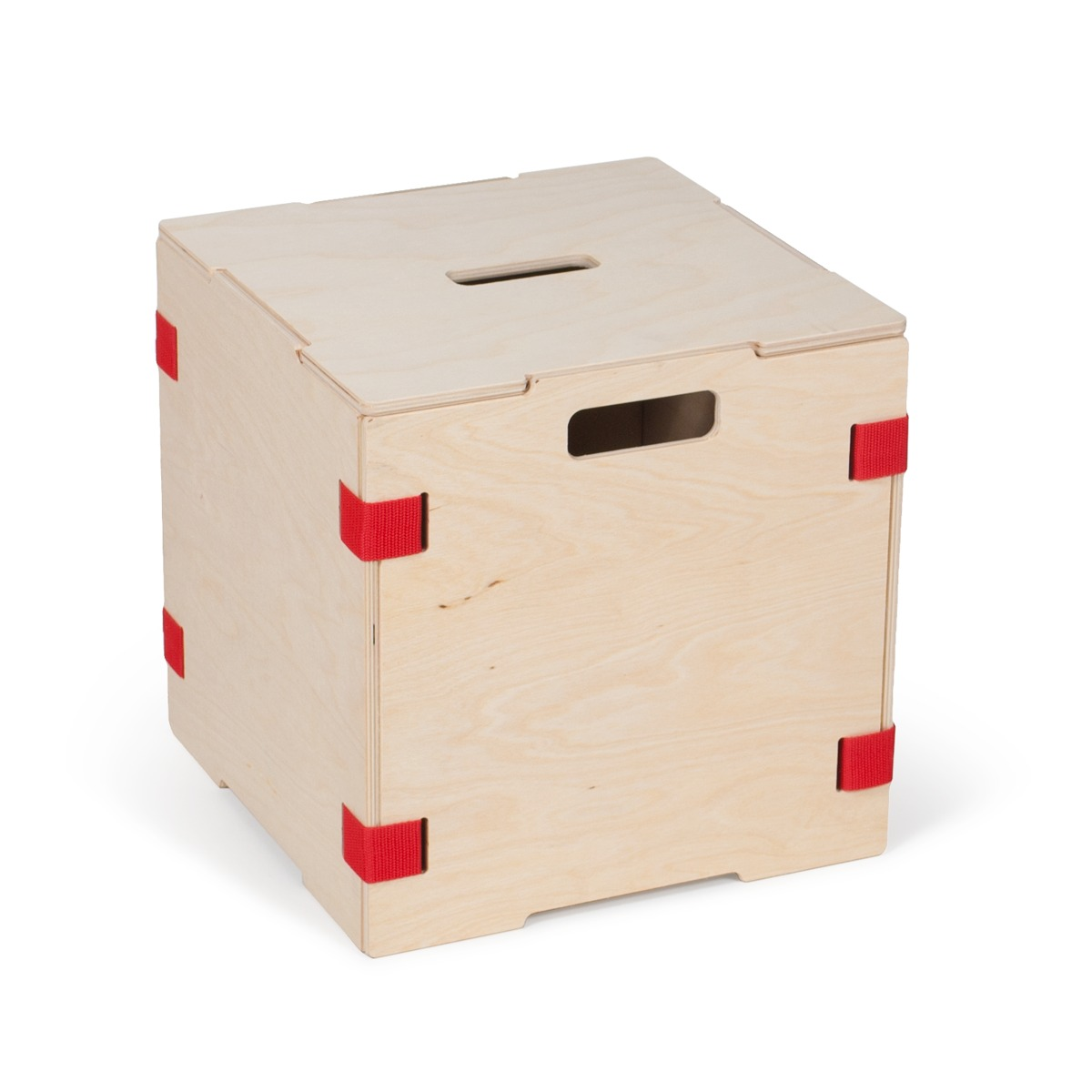 Stackable Wood Cube Storage Boxes - Red- 1 Box with Lid ...