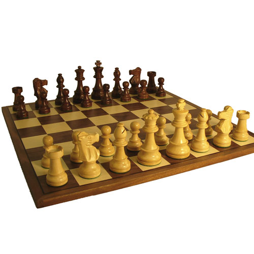 Sheesham and Boxwood French Knight Chess Set with Walnut Veneer Board by World Wise Imports