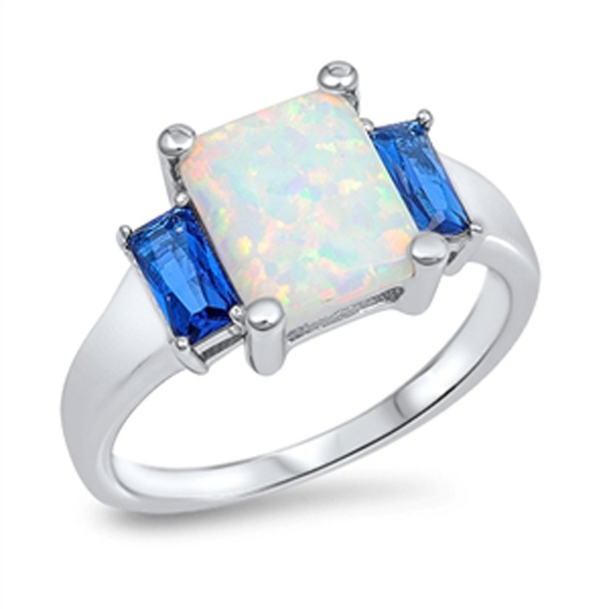 Sterling Silver Shiny Women's Flawless Blue Cubic Zirconia White Simulated Opal Wedding Ring (Sizes 4-10) (Ring Size 9)