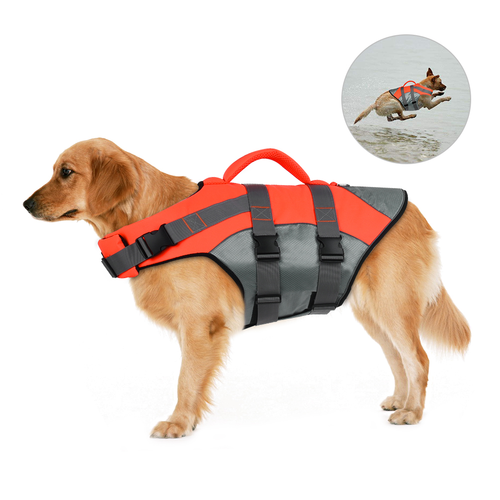 Dog Life Jacket Waterproof Pet Floatation Vest Quick-dry Dog Swimming Pet Safety Vest Breathable with Reflective Stripe and Top Handle for Small and Medium-sized Dogs, Orange, XL