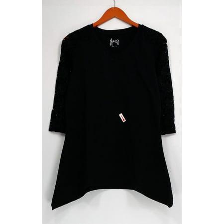 - Denim & Co. Top Sz XS V-Neck 3/4 Sleeve Trapeze Top Black A278996