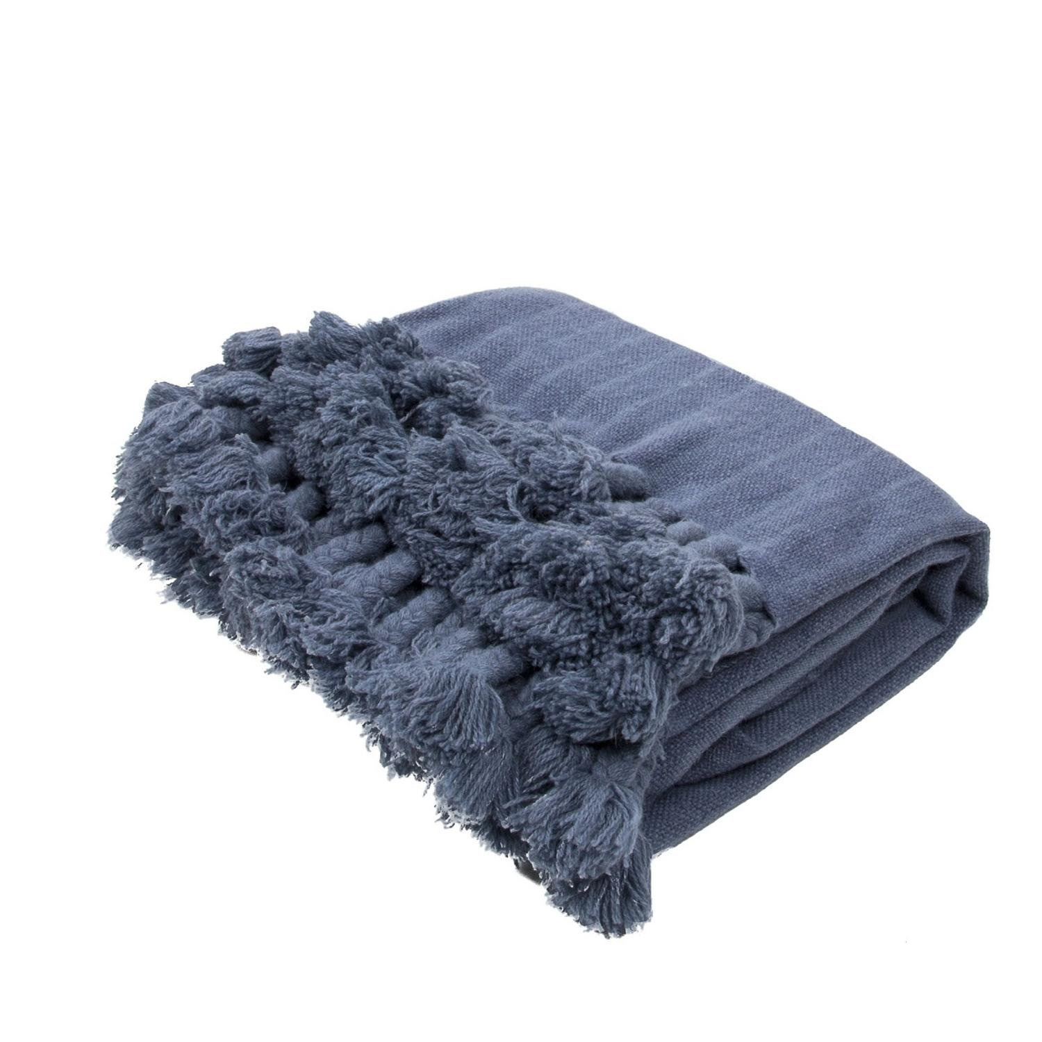 "Slate Blue Braided Tasseled Wool Throw Blanket 50"" x 60"""