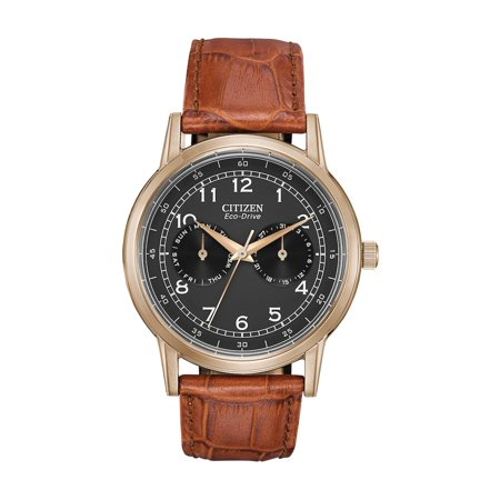 Eco Drive Men's Dress AO9003-08E Brown Leather Strap with Black Dial (Dial Brown Alligator)