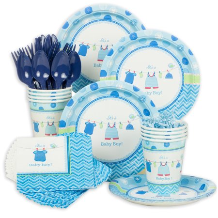 Shower With Love Boy Baby Shower Standard Tableware Kit (Serves 8) - Baby Shower Party Supplies