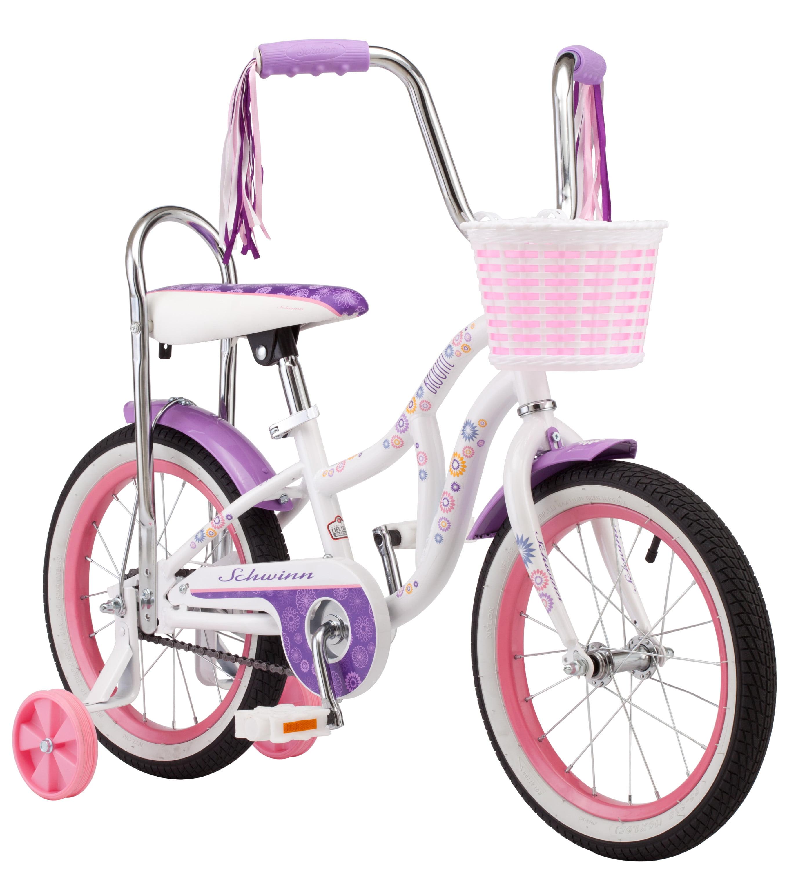 Schwinn Bloom kids bike, 16-inch wheel, training wheels, girls, white