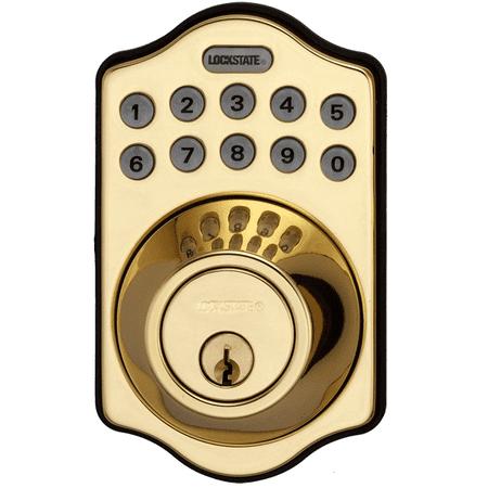 Lockstate Remotelock 5I Polished Brass Aspen Electronic Deadbolt Lock