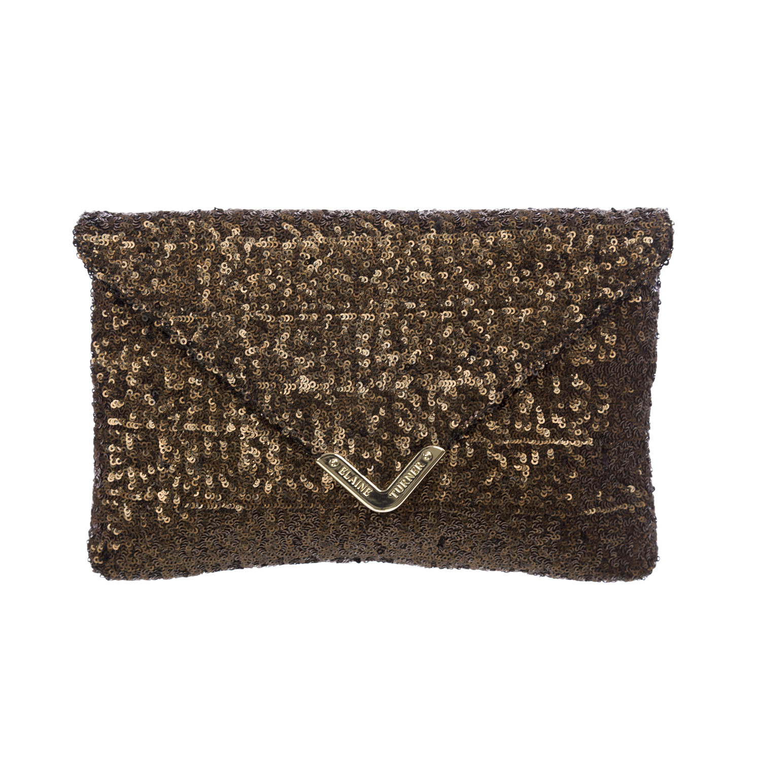 Elaine Turner Women's Sequined Bella Envelope Clutch Bag One Size Bronze