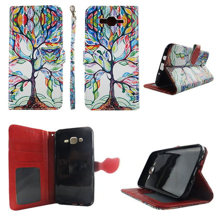 Galaxy Wholesale (Lovely Tree Wallet Folio Case for Samsung Galaxy J7 2016 Fashion Flip PU Leather Cover Card Cash Slots &)