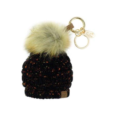 NYFASHION101® Pom Pom Beanie Key Chain Key Ring Handbag Tote Accessory - Confetti (Hand Key Ring)