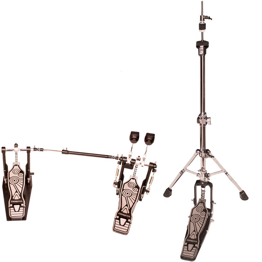 ChromaCast Double Braced Two Legged Adjustable Hi Hat Stand with Chain Drive Double Bass Pedal