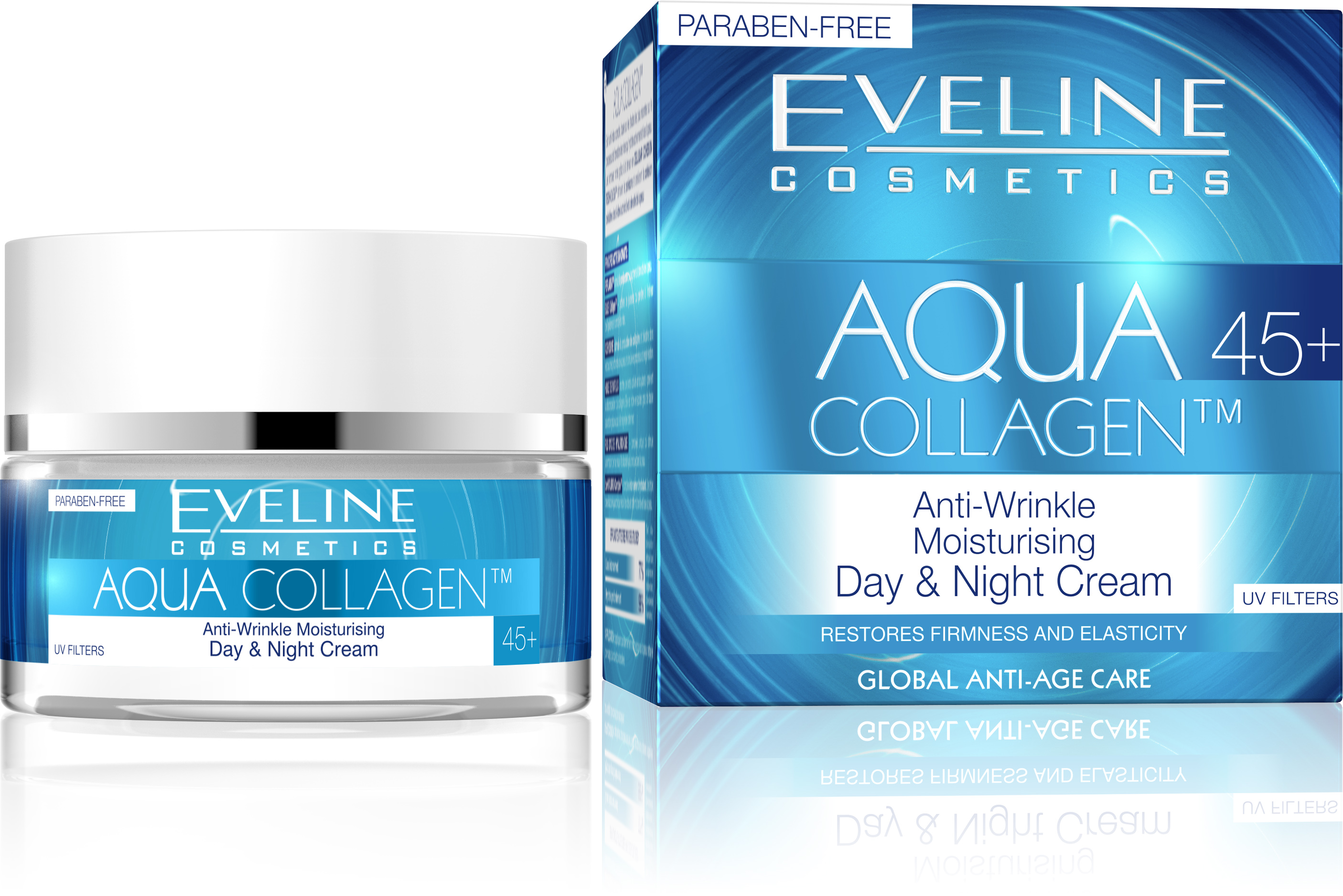Eveline Cosmetics Aqua Collagen Intensely Lifting Moisturizing Day & Night Cream 45+ clinical care skin solutions sugar lips
