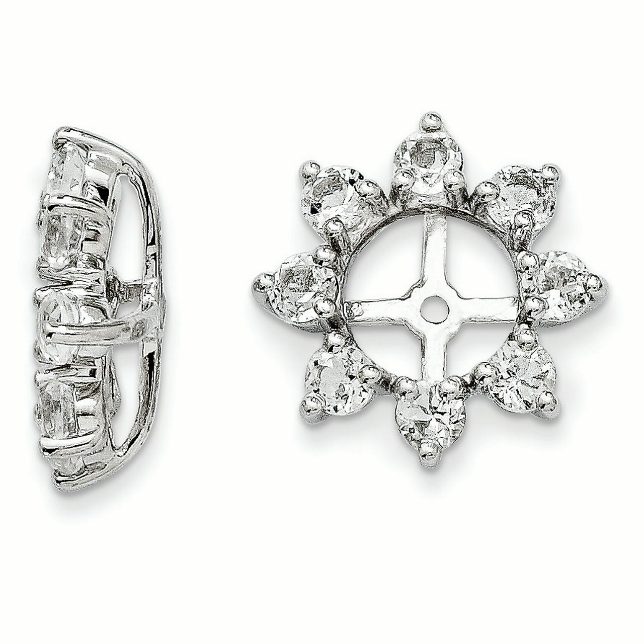 Sterling Silver White Topaz Earring Jacket