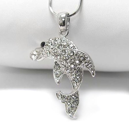 """Dolphin Pave Crystal Set White Gold Plated Pendant and 18"""" Snake Chain Necklace"""