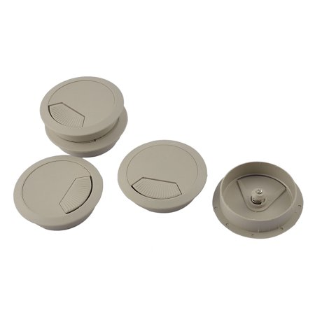 5pcs 60mm Dia Plastic Office Desk Round Grommet Wire Cord Cable Hole Cover