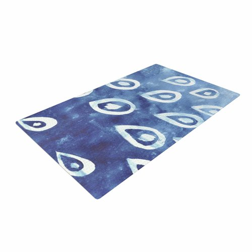 East Urban Home Jennifer Rizzo Drops of Vintage Indigo Blue/White Area Rug