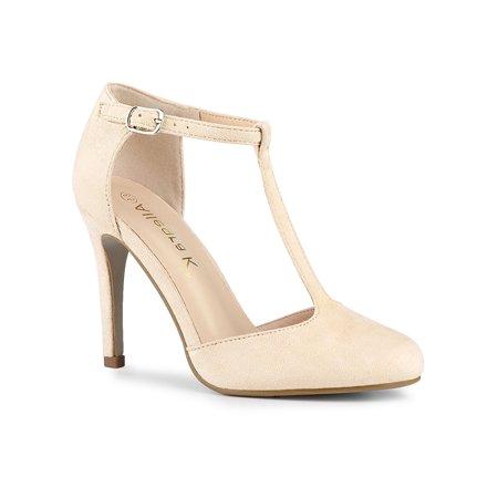 Women's Round Toe Stiletto Heel T-Strap Dress Pumps Beige (Size 6.5)