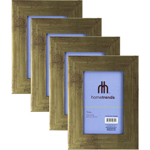 Hometrends Brushed Gold Tone 4x6 Picture Frame, Set of 4