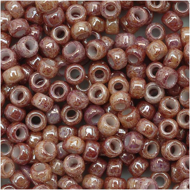 Toho Round Seed Beads 8/0 #1201 'Marbled Opaque Beige/Pink' 8 Gram Tube