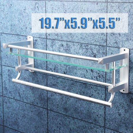 20'' Aluminum Glass Shower Bathroom Shelf Rack Organizer Storage Wall Mount Holder with 2 Towel Hanger