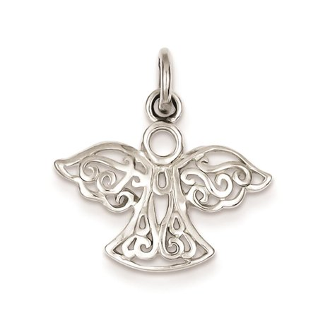 925 Sterling Silver Filigree Angel Polished Charm Pendant 20mmx20mm - Angel Charms