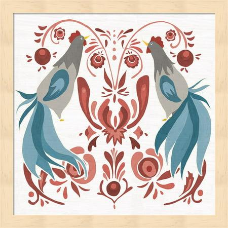 Americana Roosters III by Wild Apple Portfolio, Framed Wall Art, 13.25W x 13.25H