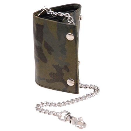 Oversized Trifold Chain Wallet in Green Camo Leather #WCTX8172GN