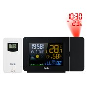 FanJu USB Operated Wireless Digital Colorful LCD Weather Station Projection Alarm Clock Indoor/Outdoor Thermometer Hygrometer Clock with Snooze Function & AC Adapter
