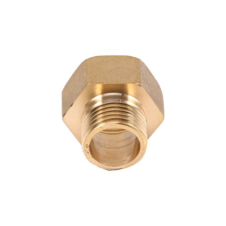 Yosoo 1pc Brass Water Pipe Hex Bushing Reducer Adapter 1/2BSPT Male and 3/4BSPT Female Thread, Brass Pipefitting - image 2 of 5