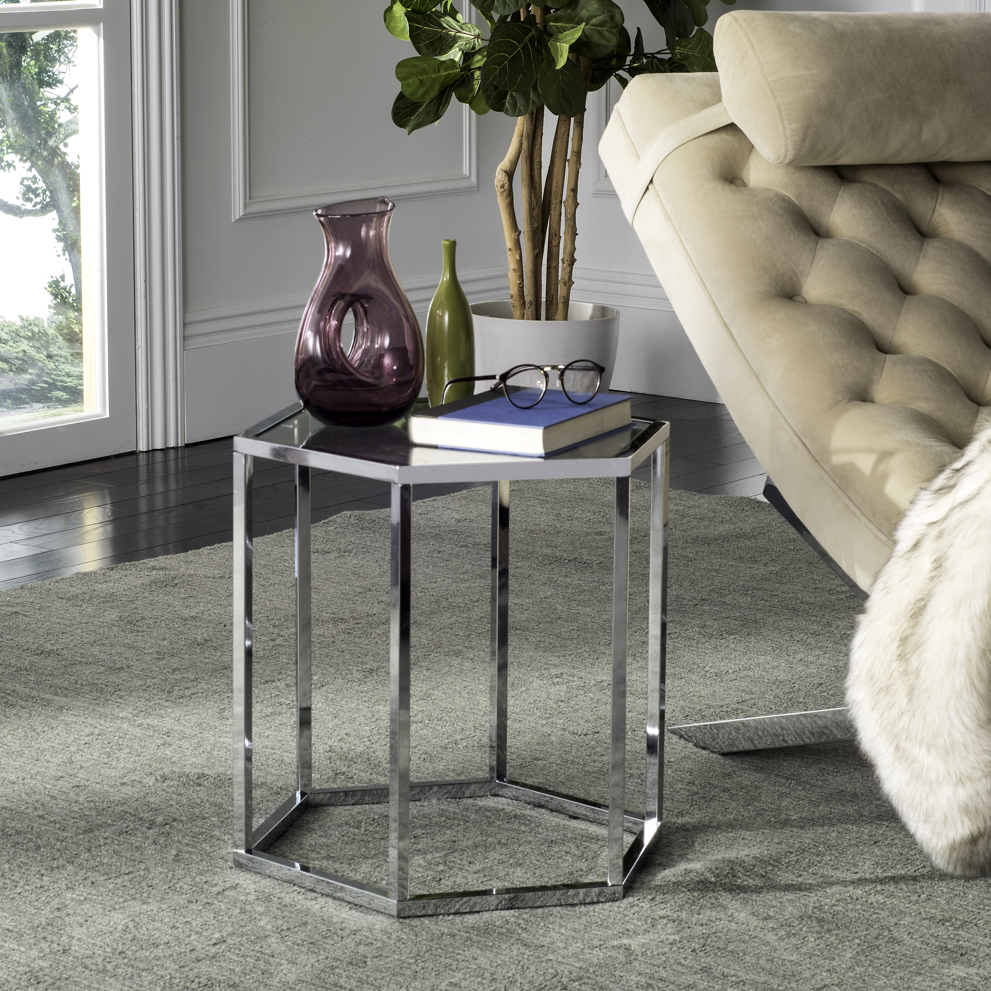 Safavieh Teagan Hexagon Glass End Table, Chrome