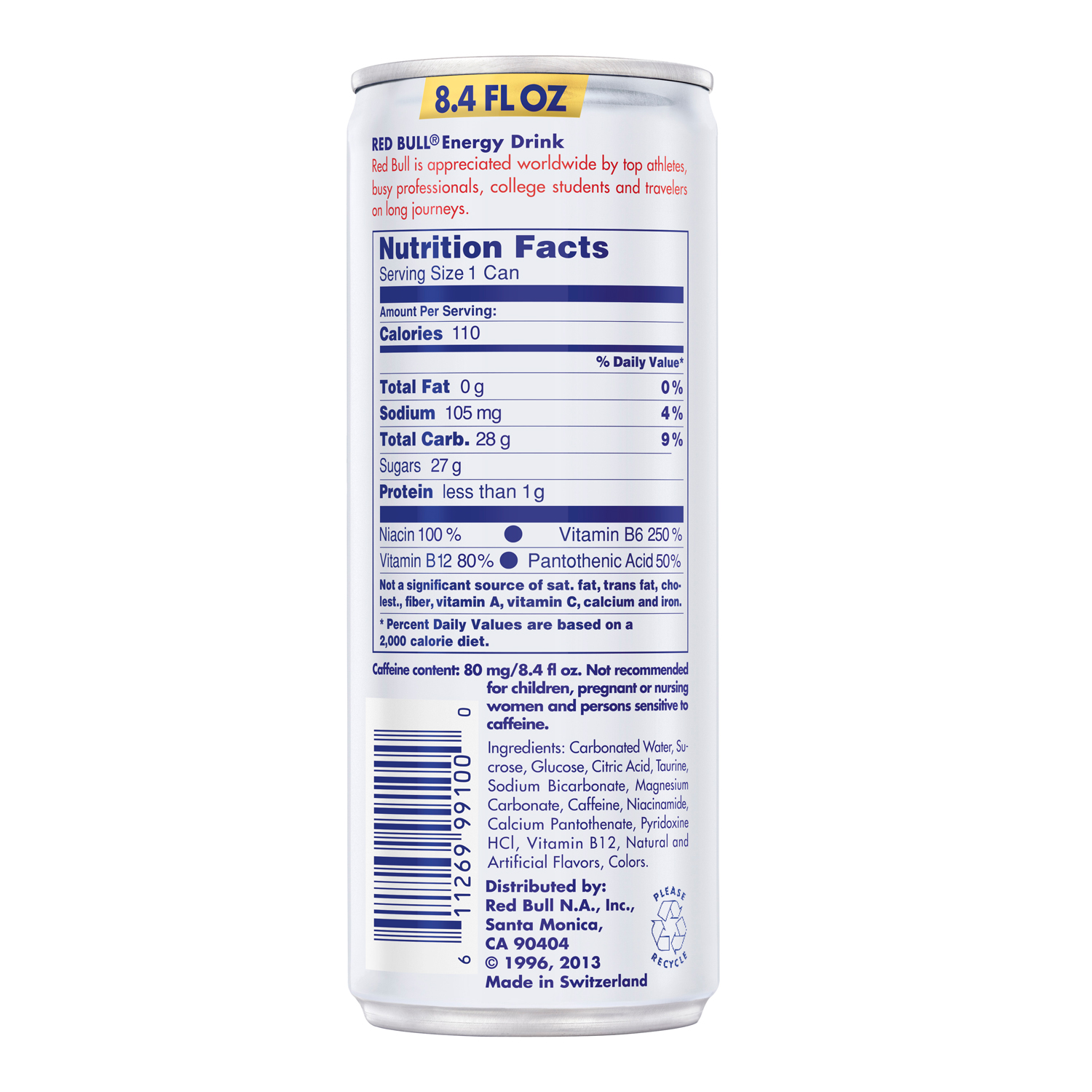 Red bull nutrition label caffeine nutrition ftempo for What s in a melon ball drink