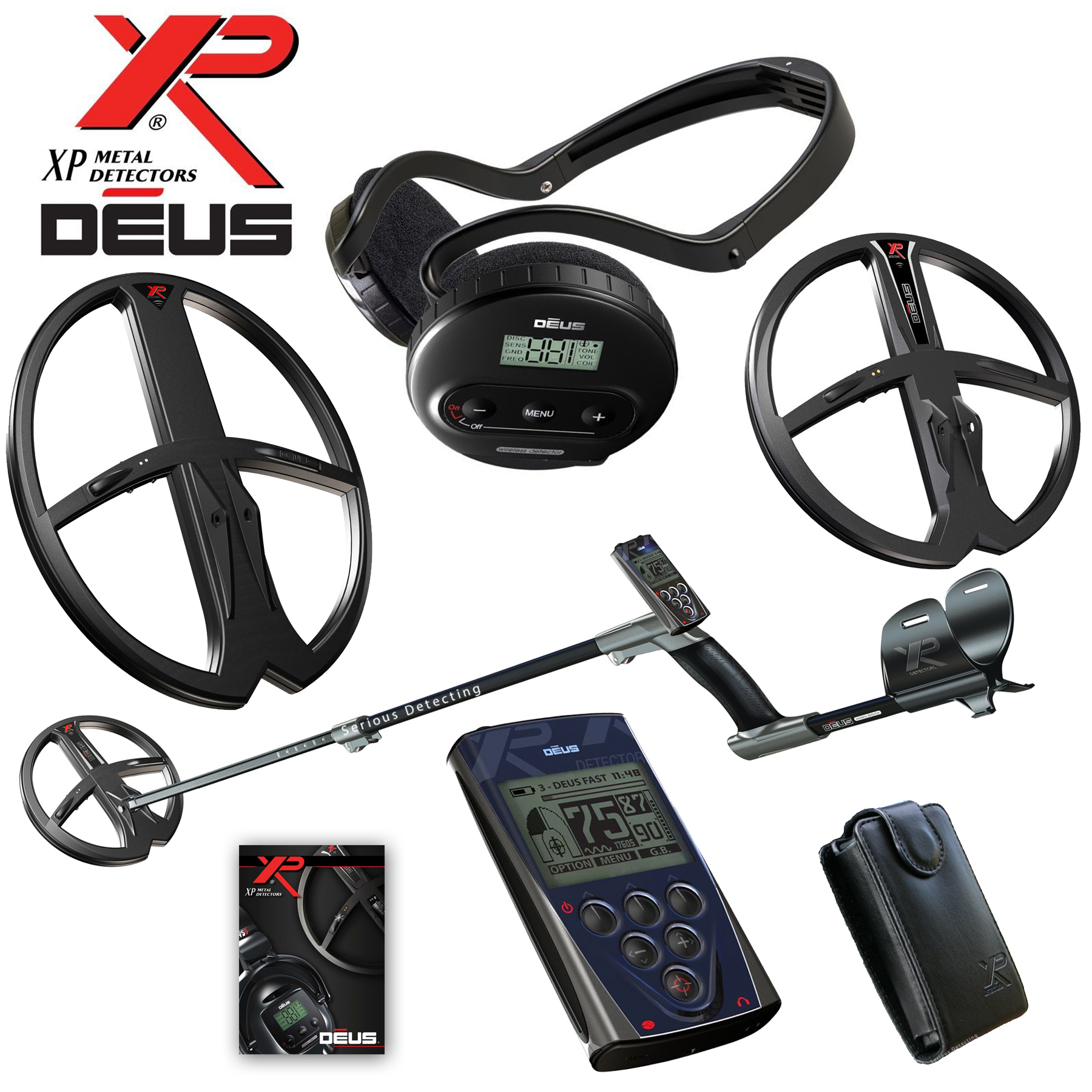 XP Deus Metal Detector Gold and Relic Hunt Package, Backphones, Remote and 2 Coils