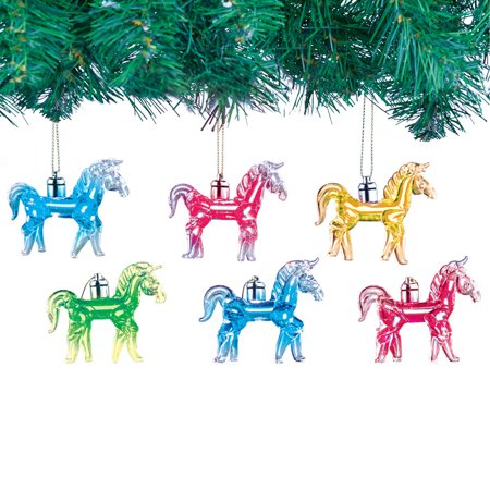 Light Up Glass Horse Ornaments Set Of - Light Up Horse