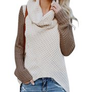 Women's Plus Size Long Sleeve Knitted Casual Cowl Neck Tops Pullover Sweaters