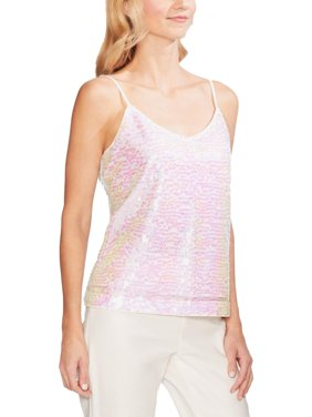 Vince Camuto Womens Iridescent Sequined Camisole Top