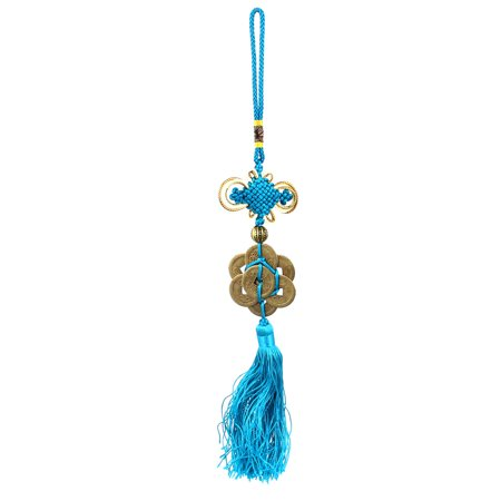 Handmade Teal Tassel 8 Copper Cash Pendant Chinese Knot Hanging Decor